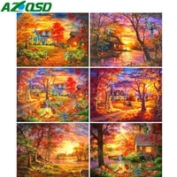AZQSD     peinture de maison en diamant  broderie complete de strass carres  point de croix  arbre  paysage  mosaique  decoration  cadeau pour la maison