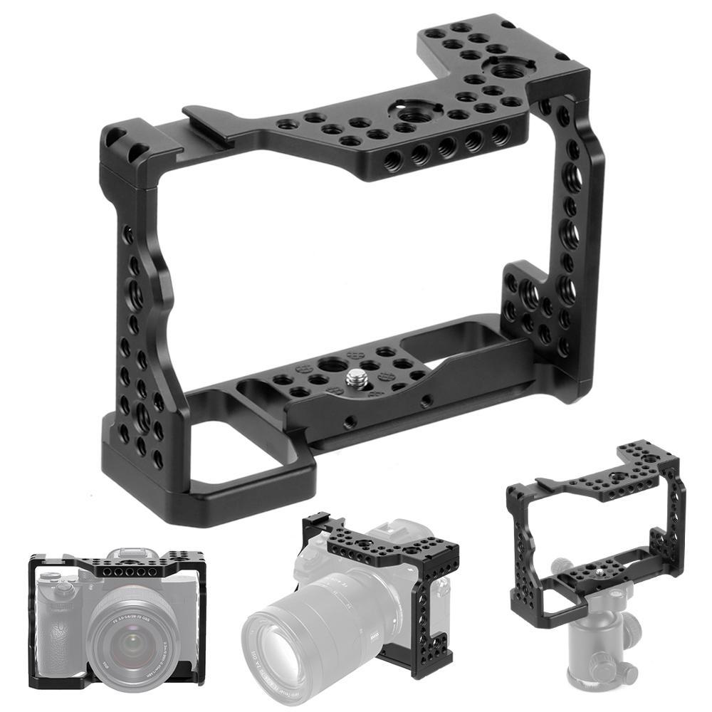 Jaula de aluminio Placa de carga rápida montaje de la Cámara soporte de trípode Base accesorio de fotografía para Sony A7RIII/A7MIII/A7III SLR DSLR