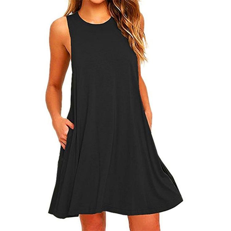 Высококачественное модное женское платье черного и синего цвета, летнее повседневное свободное платье с коротким рукавом и круглым вырезом, женское уличное платье больших размеров Vestidos
