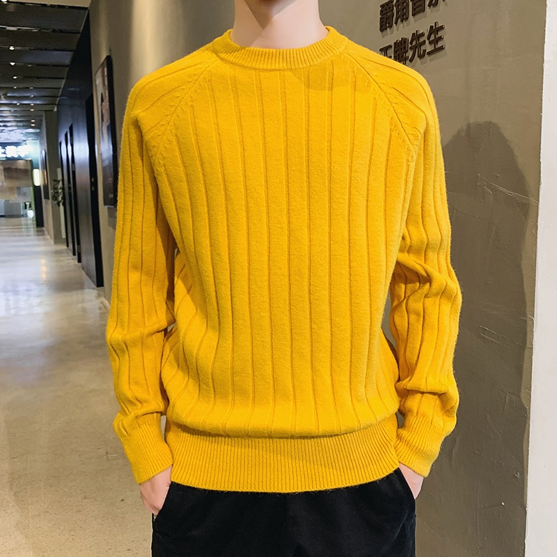 Autumn and winter men's sweater Korean yellow sweater trend sweater round neck men's thick solid color base shirt men