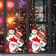 Autocollants muraux joyeux noël bricolage   Autocollants de Festival, vitrines et vitres, décorations de noël du nouvel an, pour maison