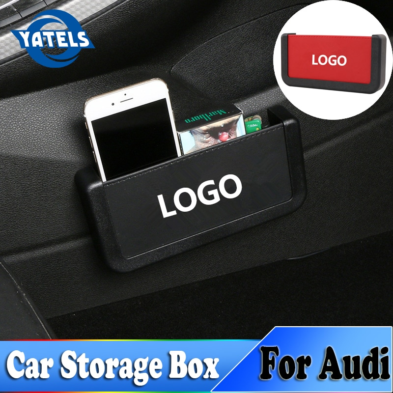 Nueva bolsa de almacenamiento de coche, Multi-función Universal coche móvil caja de almacenamiento para teléfonos para Audi A3 A4 B6 B5 C5 C6 Q5 8P 8V 8L TT Q3 S3 Sline