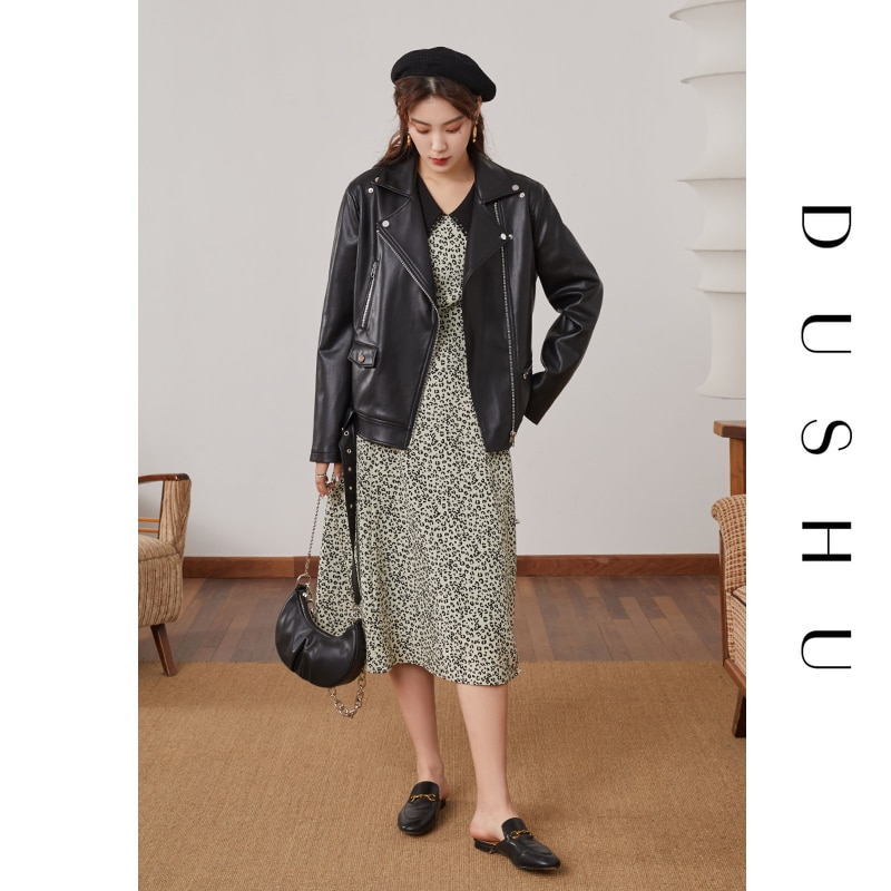 DUSHU Casual streetwear zipper black leather jacket Women long sleeve vintage spring jacket coat Female biker jacket plus size enlarge
