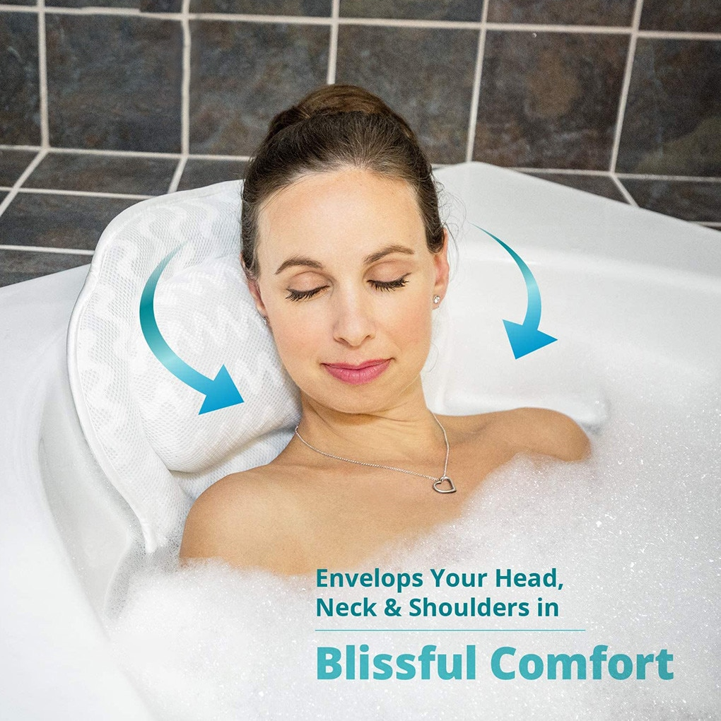 Neck Comfort Bathtub Pillow Suction Cup Air Mesh Head Neck Back Shoulder Support Shower 3D Ventilati