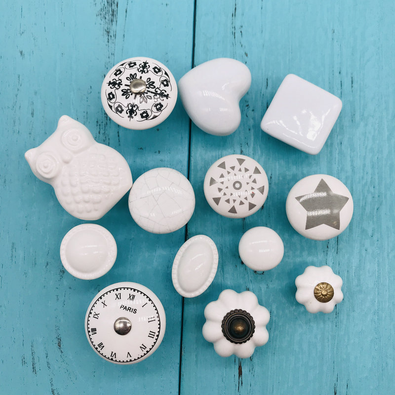 Tiradores de cerámica con dibujos para armarios de cocina, Concha blanca, reloj de París, calabaza pintada, muebles para niños, vestidor de dormitorio, tiradores de cajón 1 unidad