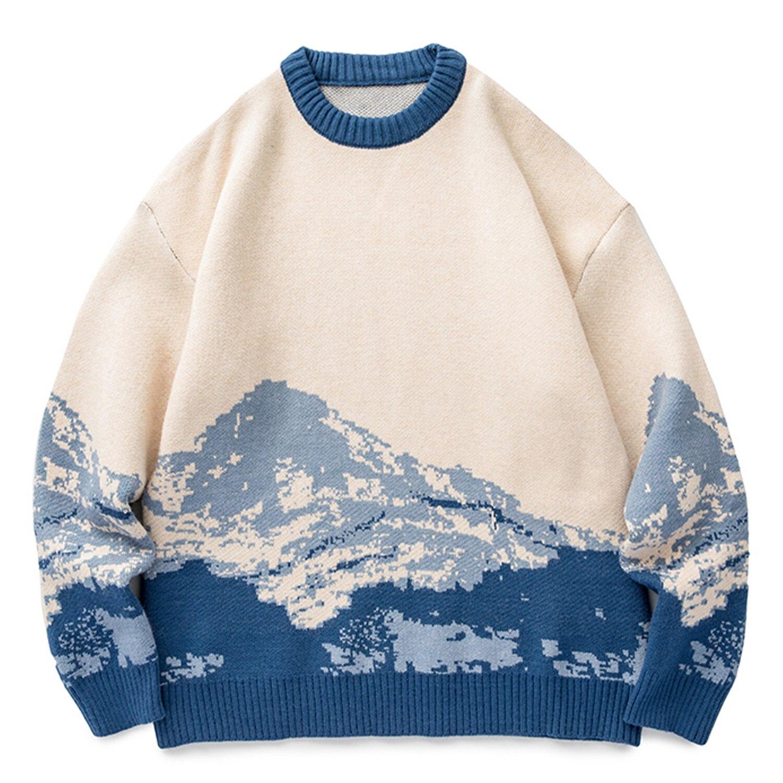 سترة هاراجوكو الشتوية المحبوكة ، سترة مطرزة متدرجة ، ملابس الشارع الهيب هوب الرجعية متماسكة ، 2021