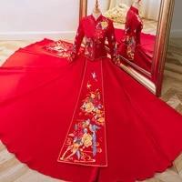 traditional flower bird embroidery tassel chinese cheongsam couple wedding suit elegant bride marry dress %d0%ba%d0%b8%d1%82%d0%b0%d0%b9%d1%81%d0%ba%d0%b0%d1%8f %d0%be%d0%b4%d0%b5%d0%b6%d0%b4%d0%b0