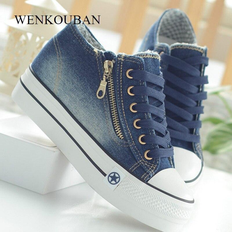 Zapatillas de plataforma a la moda, zapatillas de lona informales para Mujer, zapatillas vulcanizadas para Mujer, zapatillas de cordones, zapatillas para Mujer 2020