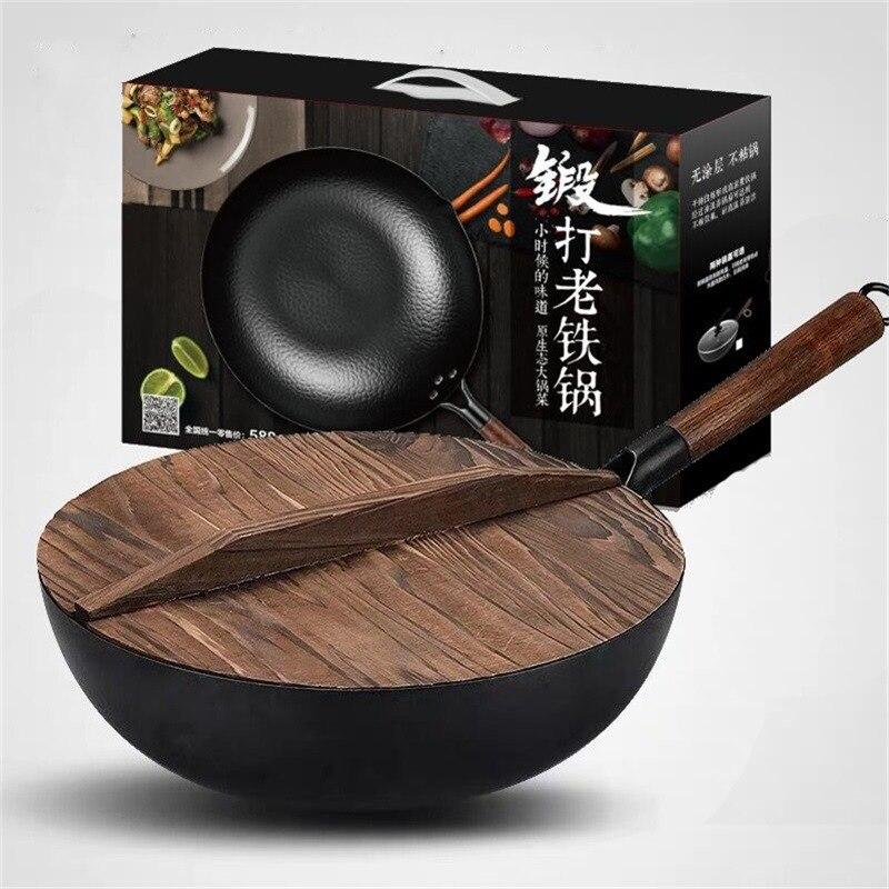 المطبخ الحديث مقلاة صيني غير عصا عموم المطبخ التقليدي ووك الحديد الزهر تجهيزات المطابخ بانيلا Antiaderente لوازم المطبخ BC50CG