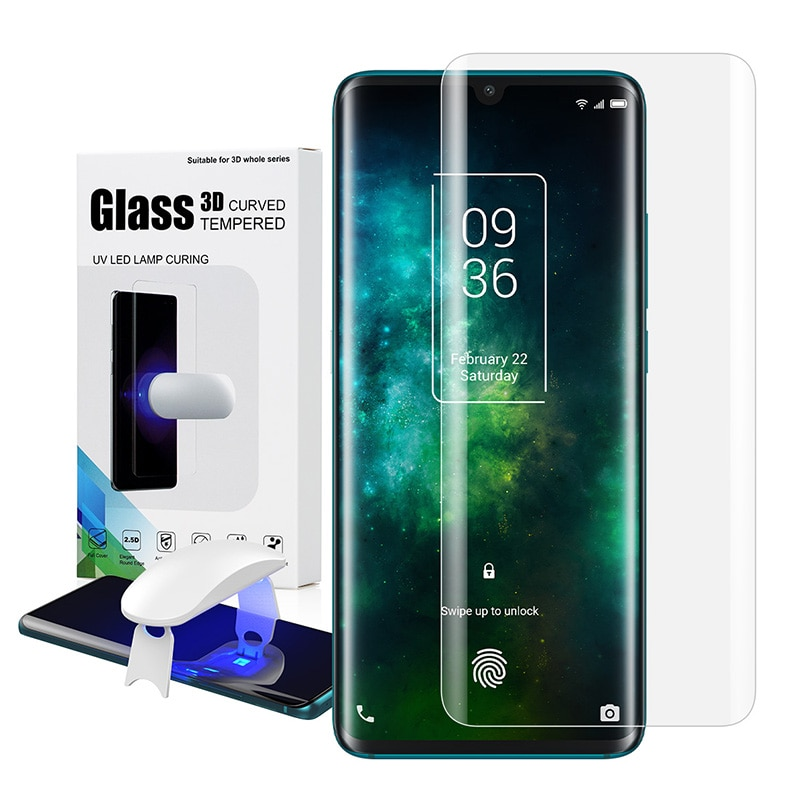 Protector de pantalla con huella digital desbloqueado en TCL 10 Pro UV película de vidrio cubierta completa para TCL 10Pro vidrio templado con huella digital