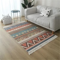 color nordic cotton and linen woven carpet living room bedroom moroccan style light luxury bohemian floor mat