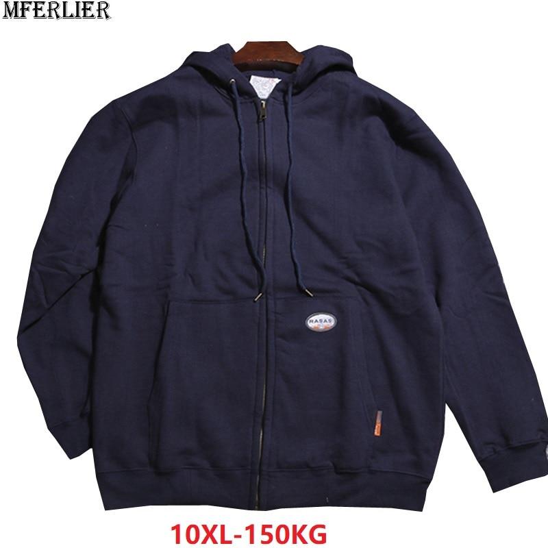 large size 9XL 10XL spring men hooded fleece autumn sports Sweatshirt warm jackets zipper 8XL hoodies oversize coat 150KG 60 62