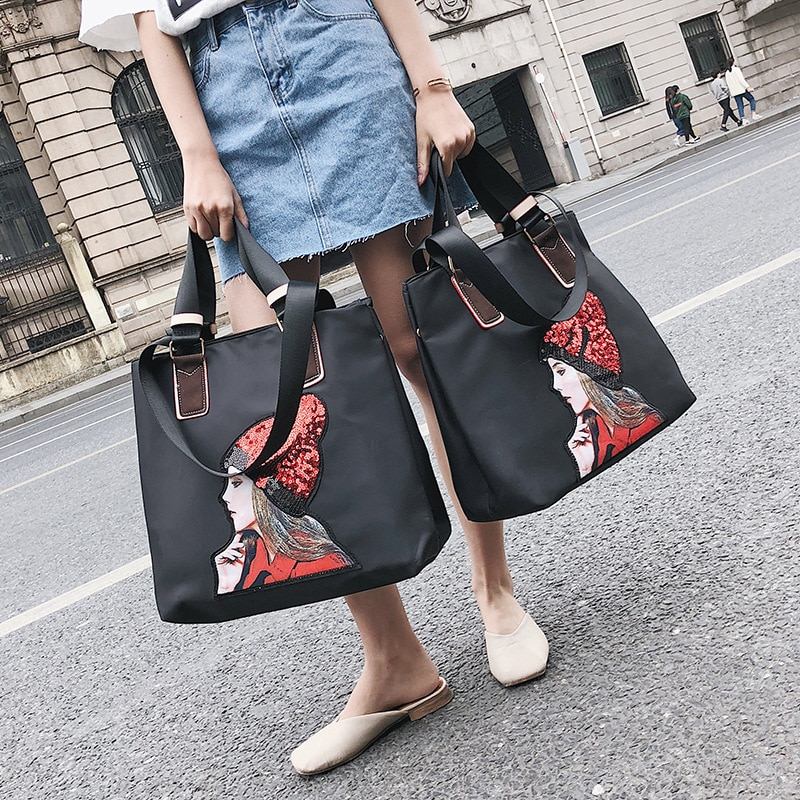 Bolsa de viaje de noche de lentejuelas para niñas bolsa de hombro de viaje de gran capacidad bolsa de equipaje de mano de gran tamaño impermeable bolsa de lona de fin de semana