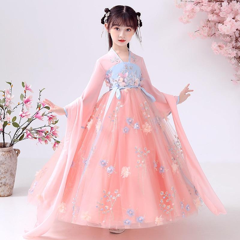 الفتيات Hanfu الأطفال فستان الأميرة 2021 جديد الربيع الصيف الصينية التقليدية تأثيري حلي تانغ سلالة الأداء ارتداء