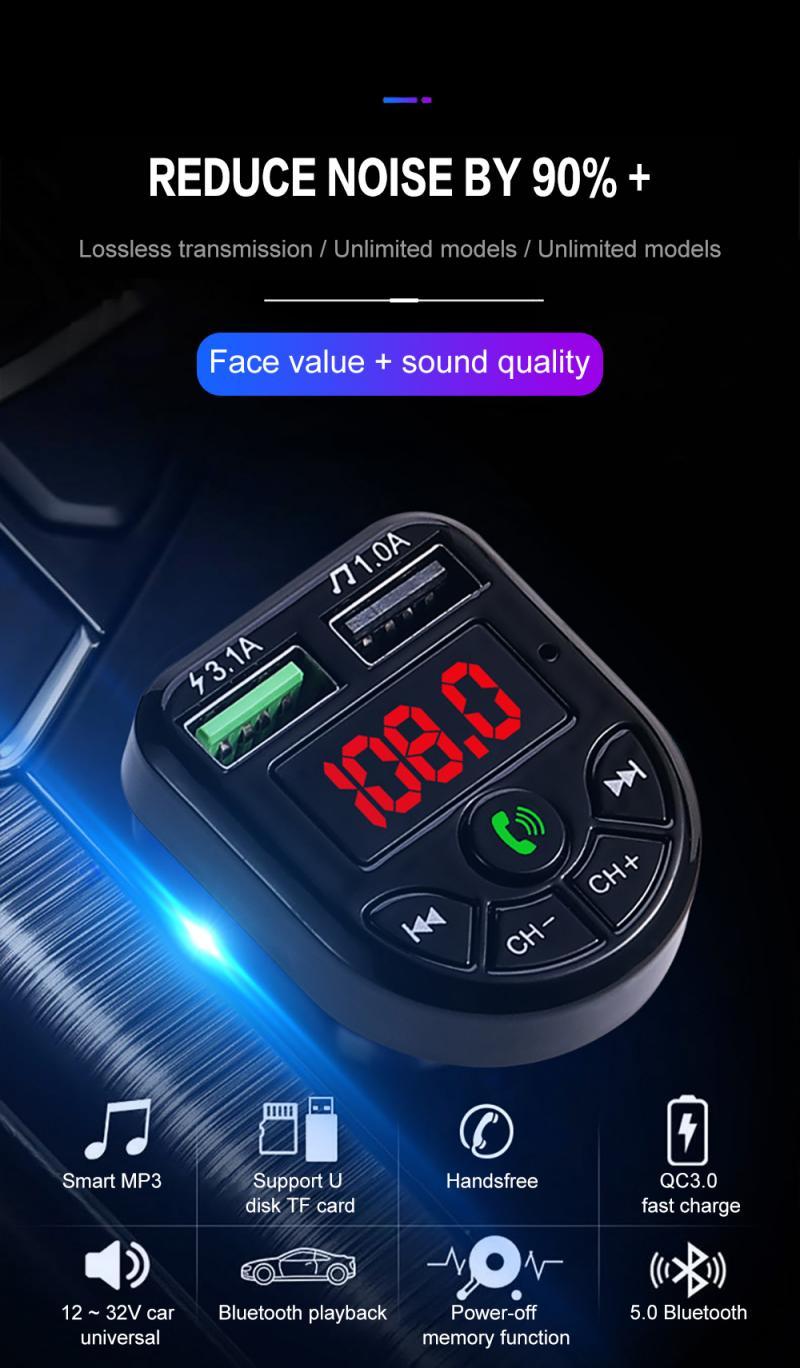 E5 Auto Speler Fabriek Directe Verkoop 12V 24V Size Usb Interface Auto Universele Mobiele Telefoon Oplader Bluetooth Oproep extra