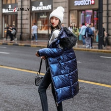 Lusumily 2020 New Women Winter Down Jacket Chic Big Fur Warm Ultra Light Long Coat Female Parka Hooded Glossy Jackets Oversized