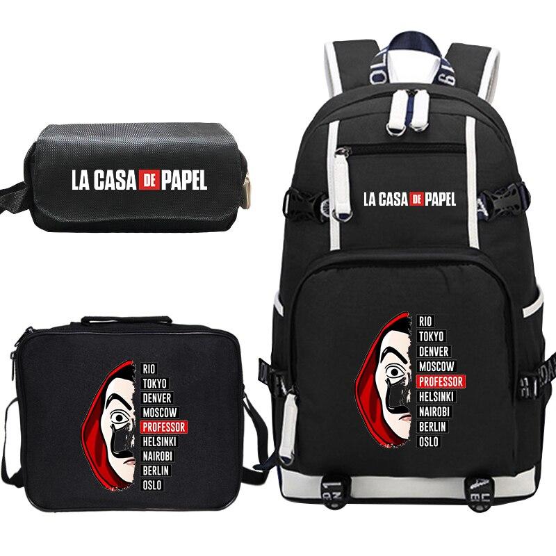 Mochila Feminina La Casa De Papel 3 шт./компл., рюкзак, сумка для обеда, пенал, корейский школьный рюкзак, дорожный рюкзак, рюкзак для ноутбука