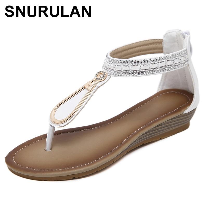 SNURULAN Summer flip flops; Women's Bohemian Ethnic Sandals; wedge shoes summer low-heeled beach shoes; comfortable shoes