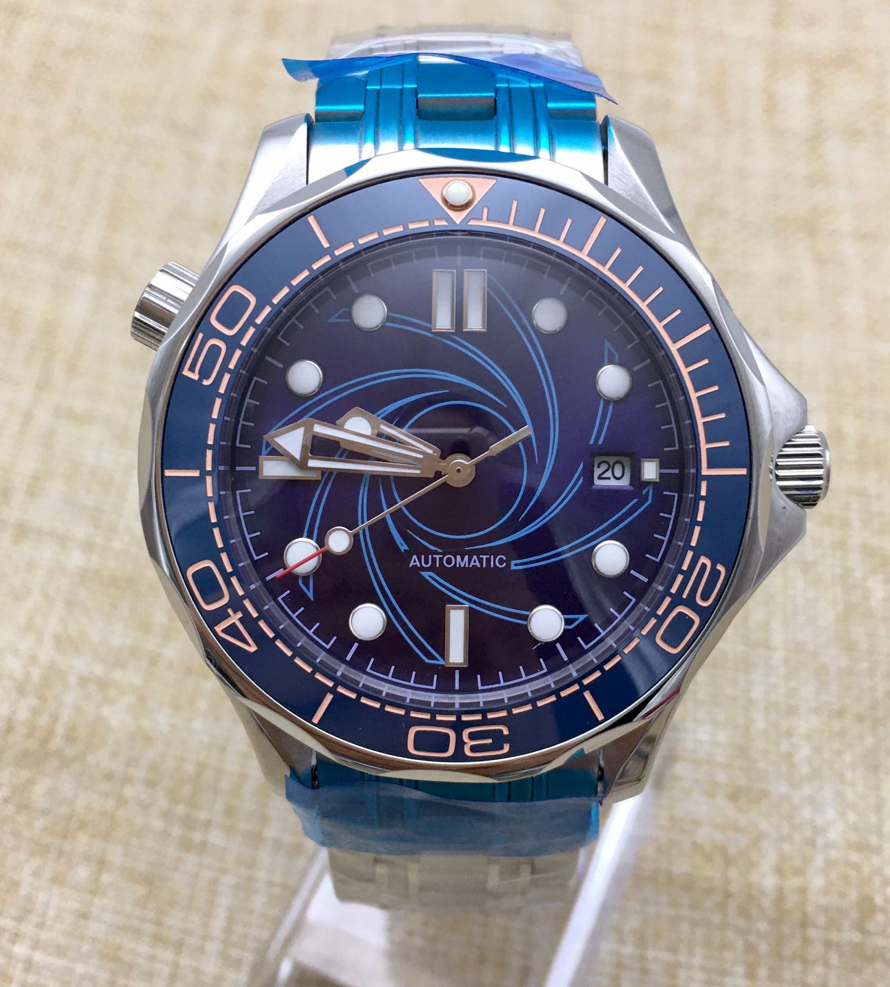 41MM Blue Dial Date Ceramic Bezel Stainless Steel Solid Case Automatic Watch Men's Mechanical Steel Strap 27 enlarge