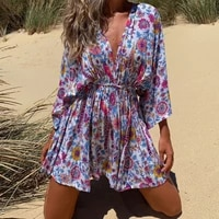 western style 2021 explosion womens dress fashion printing casual v neck high waist summer vacation sandy beach loose