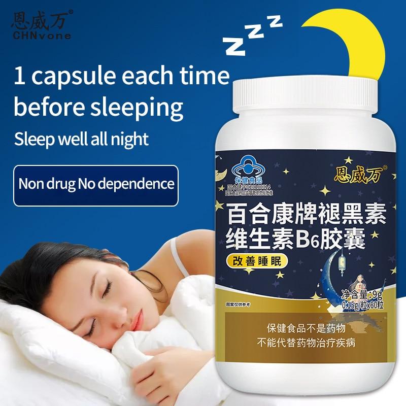 2 صناديق الميلاتونين وفيتامين B6 كبسولة تحسين النوم مساعدة النوم تحسين الاضطرابات العقلية تخفيف تصلب الشرايين 60 حبة