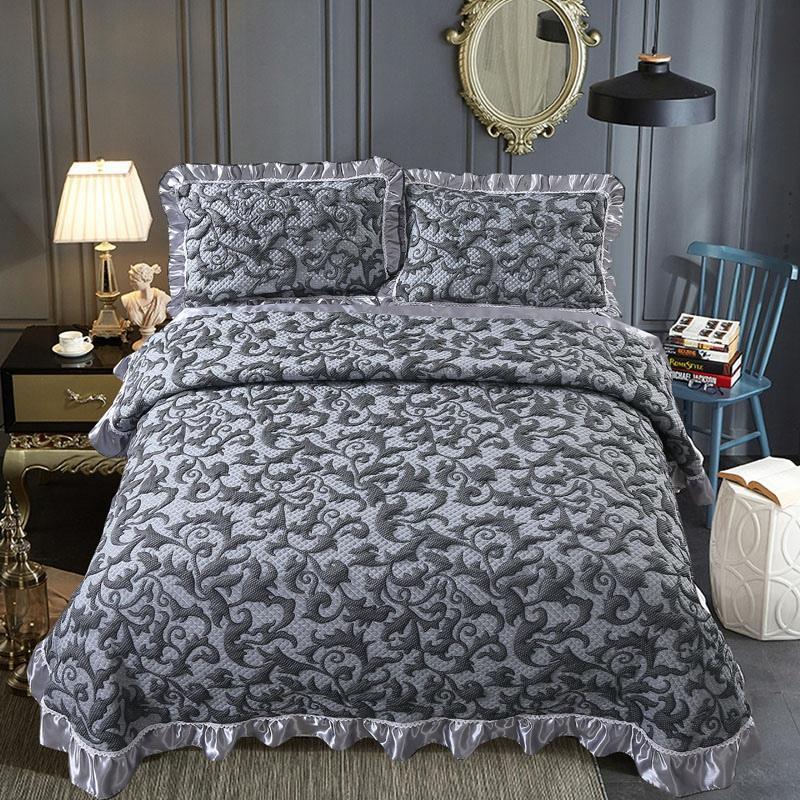42 230x25 0 سنتيمتر/250x270 سنتيمتر رمادي شرشف غطاء رشيقة المفرش 3 قطعة المفرش نوم القطن السرير غطاء هدية