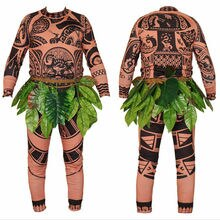 2019 Moana Maui Tattoo T Shirt Pants Halloween Adult Mens Women Cosplay Costumes with Leaves Decor Blattern Halloween Adult New