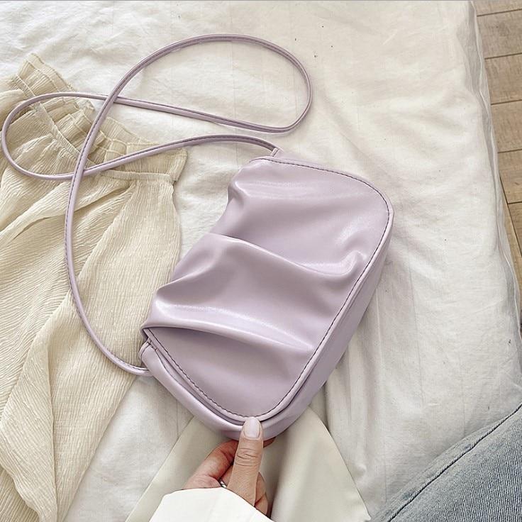 Korean Folds Design Small PU Leather Shoulder Bags For Women 2021 Elegant Dumplings Handbags Female Travel Totes Fashion Evening
