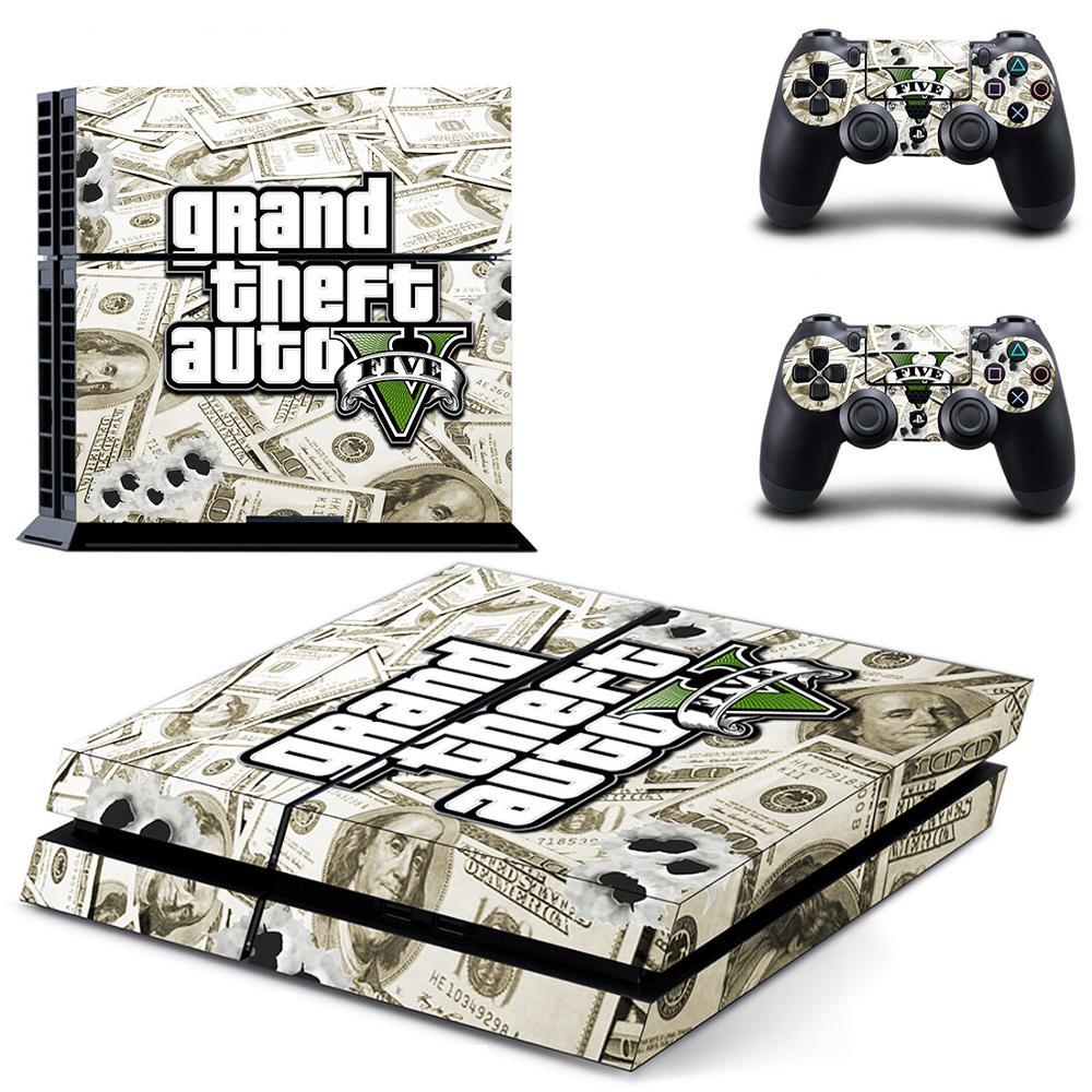 Gran robo de Auto GTA 5 PS4 etiqueta Estación de juego 4 piel PS 4 etiqueta engomada etiqueta para PlayStation 4 PS4 consola y controlador de pieles