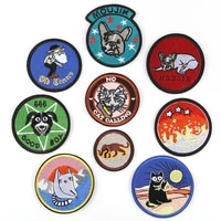 20pcslot round embroidery patch letter clothing decoration accessories animal dog cat strange thing iron heat transfer applique