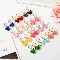 kpop colourful 12 color womens acrylic cute butterfly drop earring fashion dangle earrings jewelry sweet gift wholesale