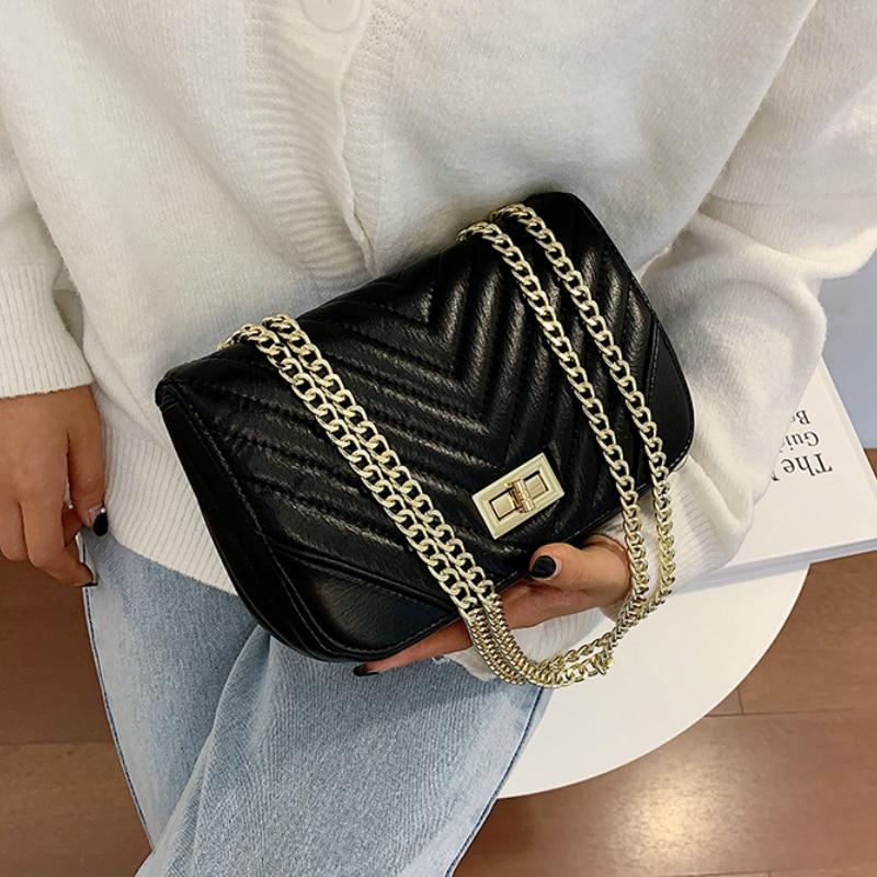 Black V-line Crossbody Bags for Women 2021 Fashion Small Shoulder Bag Female Handbags and Purses Travel Bags