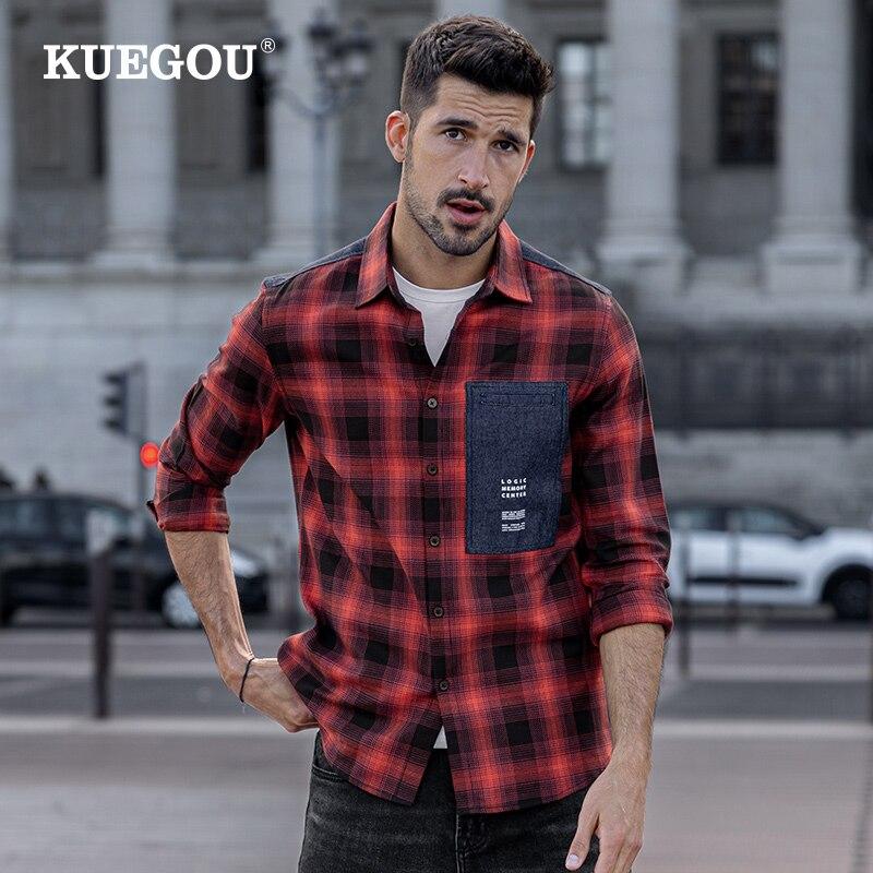 KUEGOU 100% القطن الخريف قميص رجالي طويلة الأكمام منقوشة قميص ملابس الموضة الربيع أفضل حجم كبير BC-6987
