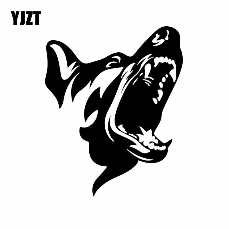 YJZT 13X16.1CM Cão Com Raiva Adesivos de Carro de Patrulha de Segurança Animais de Estimação do Vinil Decalque Padrão Preto/Prata C24-1224