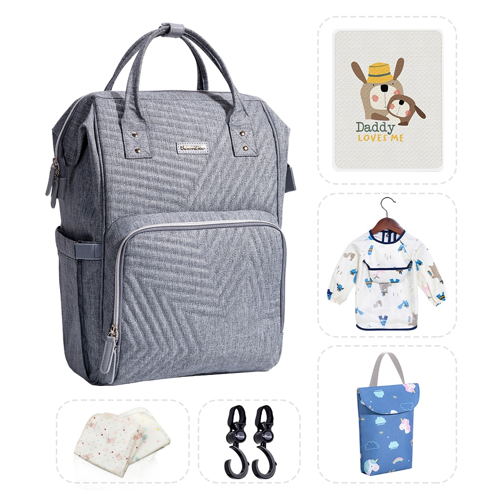 Sunveno Mommy Diaper Bag Large Capacity Baby Nappy Bag Designer Nursing Bag Fashion Travel Backpack
