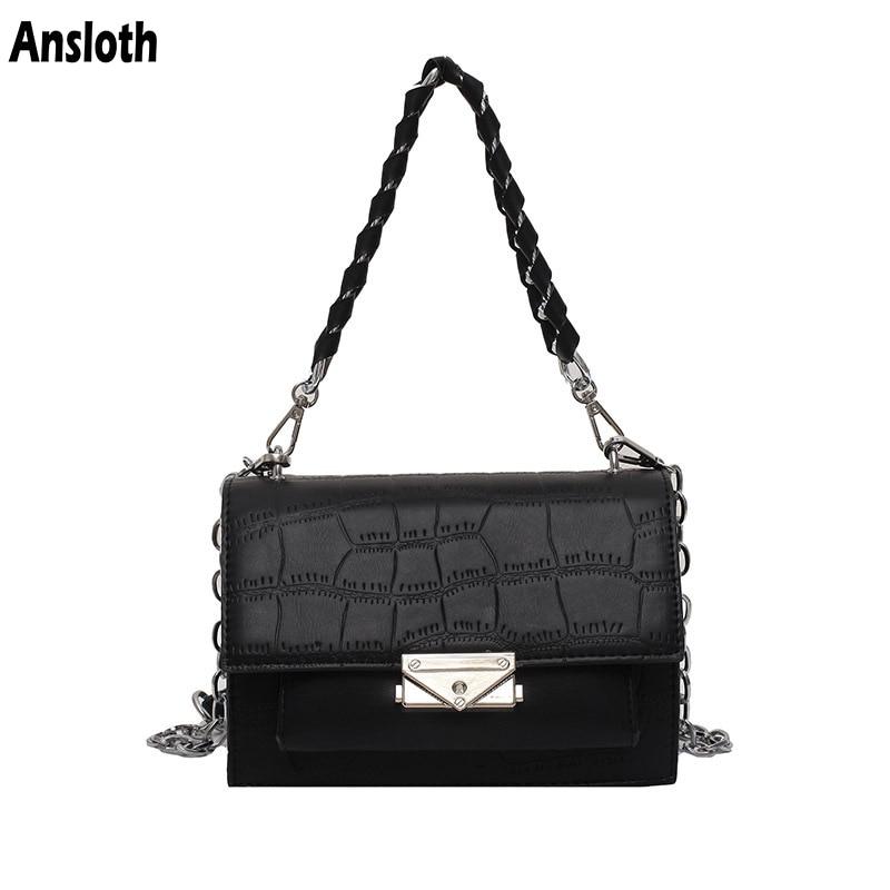 Ansloth Women Fashion Chain Shoulder Bags Luxury Female Handbag Brand Design PU Leather Crocodile Pattern Flap Bags Lady HPS1024