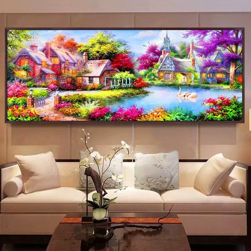 DIY Diamond Painting Landscape garden house Cross Stitch Home Decor Diamond Embroidery Lakeside scen