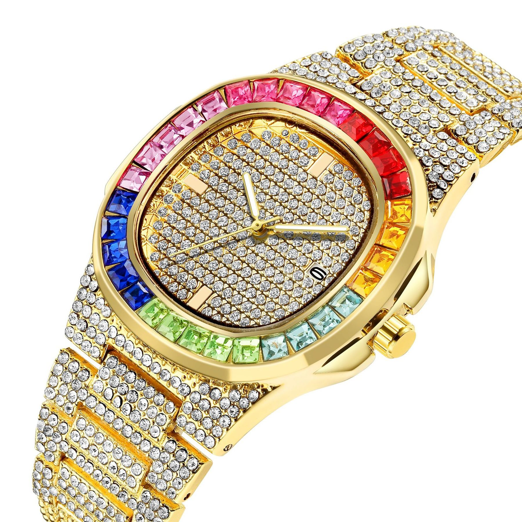 Luxury Iced Out Watch Gold Diamond Watch Top Brand for Men Square Quartz Waterproof Wristwatch Relogio Masculino Men Watches watch for women top brand luxury iced out watch diamond watch for men iced out cuban link chain necklace wristwatch man hiphop