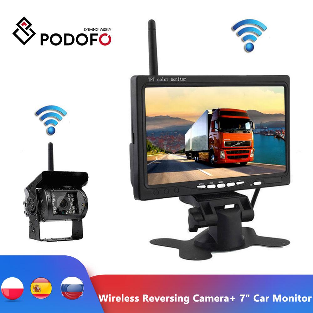 "Podofo Wireless Reverse Reversing Camera 7"" HD TFT LCD Car Monitor for Truck Bus Caravan RV Van Trailer Vehicle Rear View Camera"