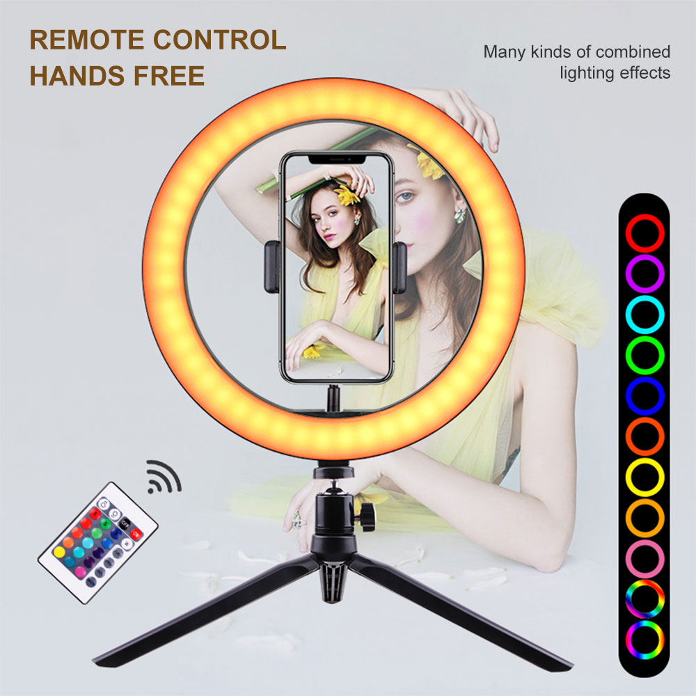 26cm LED Selfie RGB Ring + 18cm tripod