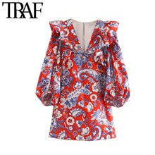 TRAF Women Chic Fashion Paisley Print Ruffled Mini Dress Vintage V Neck Puff Sleeve Female Dresses Vestidos Mujer