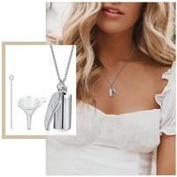 casual cylinder angel wing cremation ashes urn necklace for women jewelrystainless steel remembrance memorial keepsake gift
