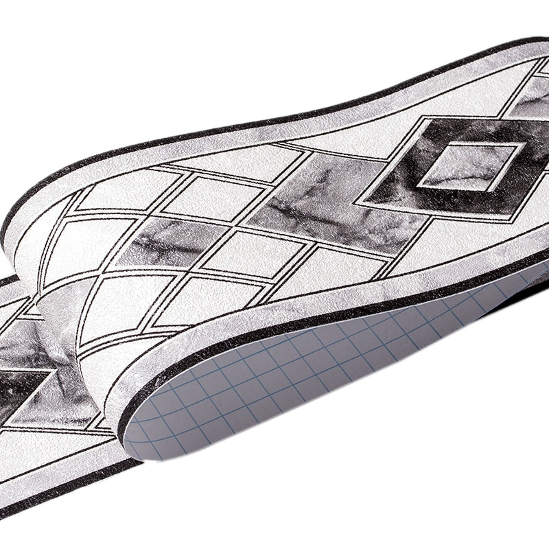 PVC papel tapiz autoadhesivo bordes cintura patrón geométrico zócalo sala de estar baño cocina azulejos pegatinas negro