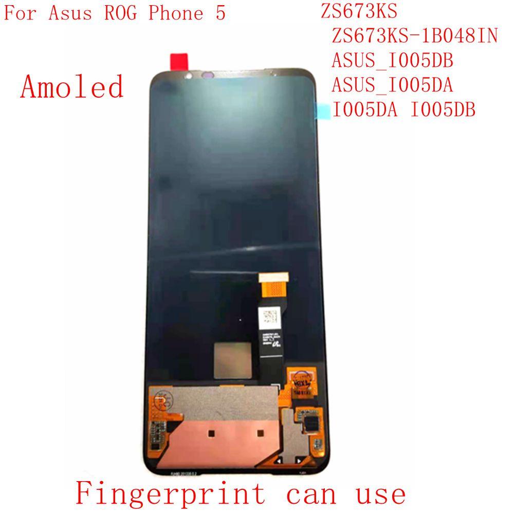شاشة Lcd أصلية من yj5 Amoled لهاتف Asus ROG 5 ZS673KS تعمل باللمس محول رقمي زجاجي ASUS_I005DB ASUS_I005 I005DA I005DB