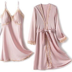 Pink Wedding Bride Beidesmaid Robe Set Women Faux Silk Satin Summer Sleepwear Kimono Bathrobe Gown Sexy Loose Home Dress