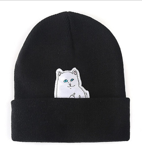 2020 novo gato médio dedo lã quente inverno rua acrílico malha chapéus bonnet dos desenhos animados chapéus hiphop 4 cores
