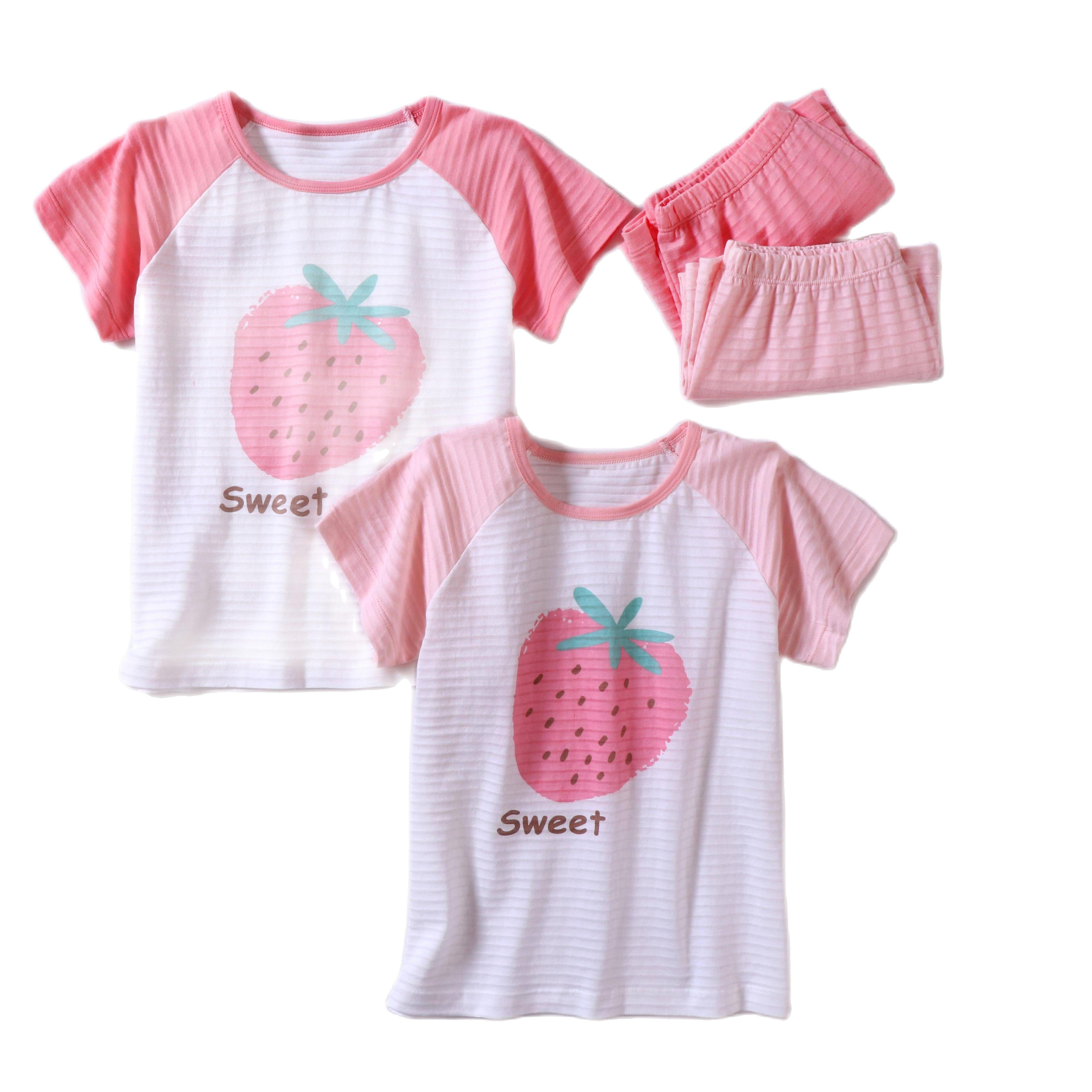 Детские пижамы для девочек, летняя хлопковая домашняя одежда для девочек, детская одежда для сна с коротким рукавом, милые Мультяшные Детские пижамные комплекты