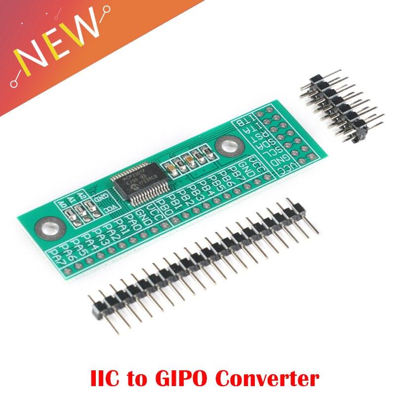 MCP23017 I2C Interface 16bit I/O Extension Module Pin Board IIC to GIPO Converter 25mA1 Drive Power Supply for Arduino C51