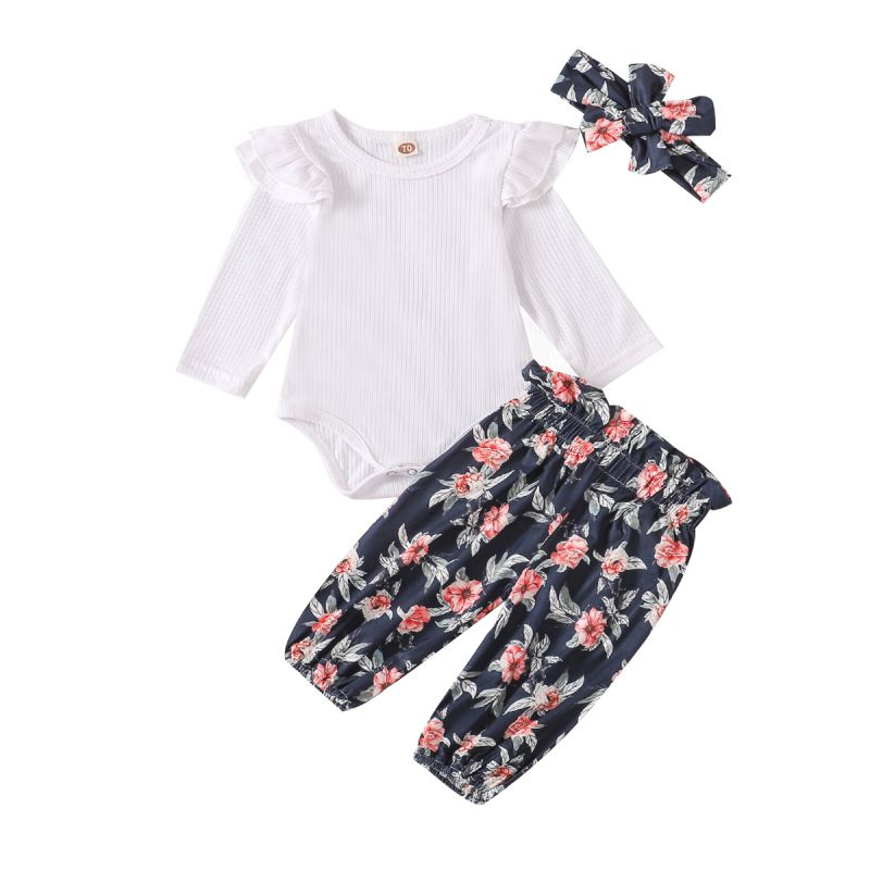 Baby Kids Girls Boys Clothes Outfit Set Autumn Long Sleeve Romper+Floral Pattern Trousers Pants+Headband 3PCS Clothing Suit