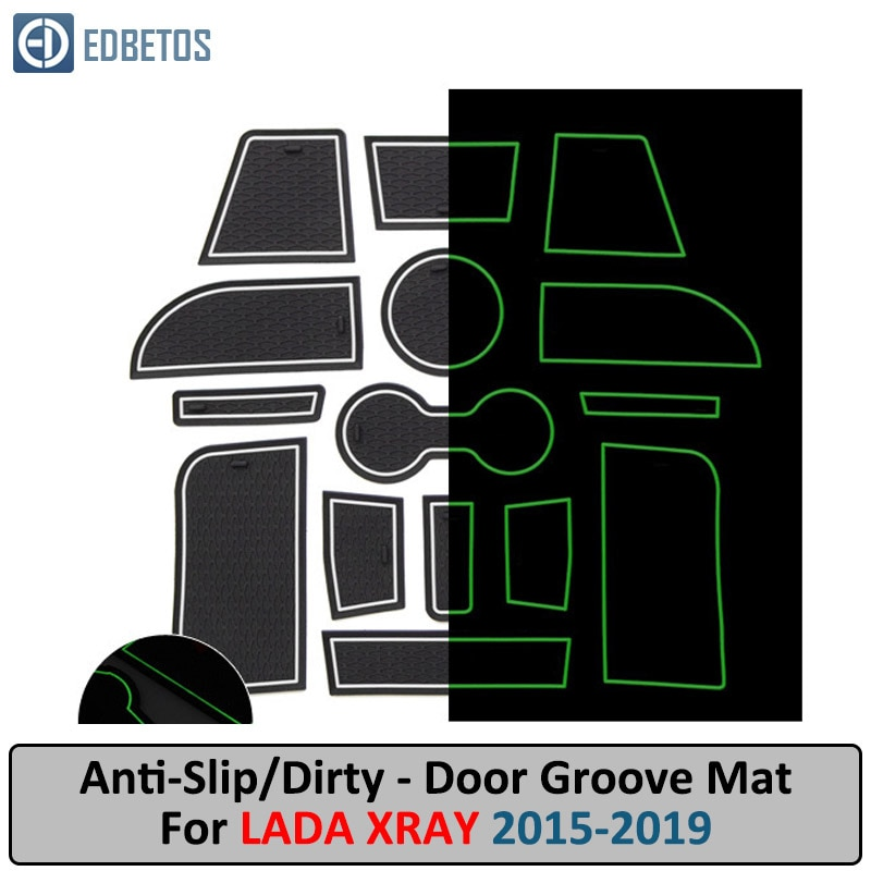 Esteira do sulco da porta para lada xray 2015 2016 2017 2018 2019 anti-deslizamento esteira porta entalhe coaster anti-sujo esteira lada xray acessórios